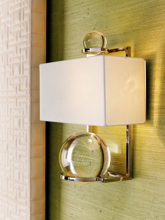 """Lighting - The future sure looks bright when your wall is highlighted by this graceful sconce made of polished stainless steel with two removable """"crystal balls."""""""