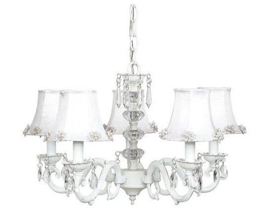 Belle & June - The Lauren Chandelier - This strikingly elegant 5-arm ivory chandelier features white dupioni silk shades with small pearl burst detail, a dramatic crystal ball center, and hanging crystals throughout. With its neutral tone-on-tone design, this chandelier will match the décor in any little girl's room.
