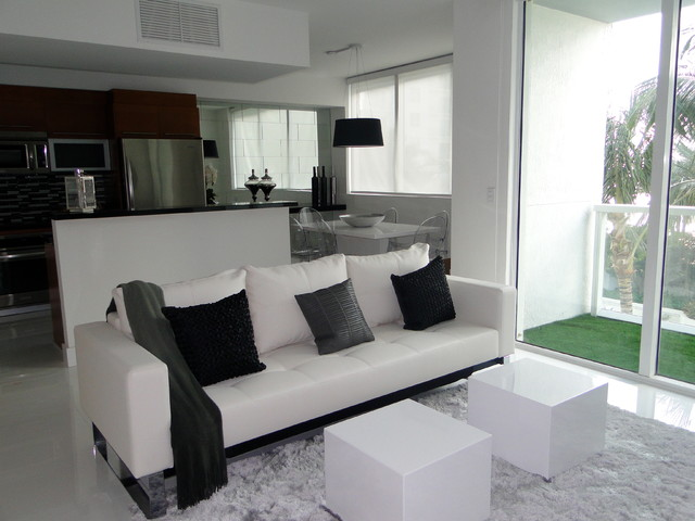 Viscaynne small condo white grey and black for Houzz small living rooms