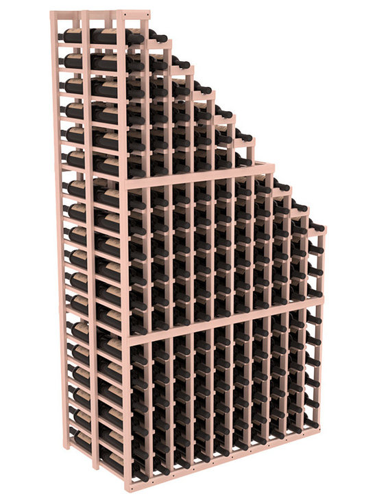 Double Deep Wine Cellar Waterfall Display Kit in Redwood with White Wash Stain + - The same beautiful cascading waterfall but in a double deep capacity. Displays 18 choice vintages in a tiered fashion. Designed within our modular specifications and to Wine Racks America's superior product standards, you'll be satisfied. We guarantee it.