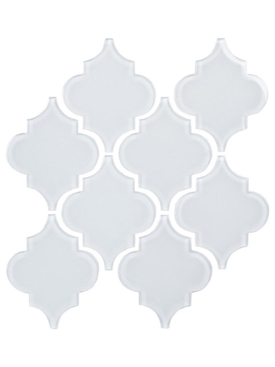 Bright White Arabesque Glass Tile Mosaic
