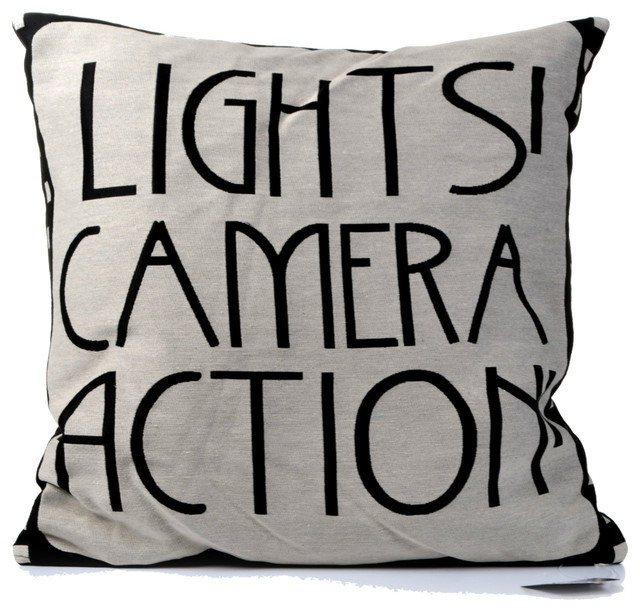 Lights Camera Action Wall Decor : Concepts Life Throw Pillow Typography Lights, Camera, Action - Eclectic - Decorative Pillows ...