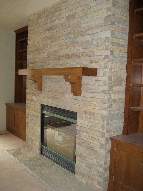 Stacked Stone Fireplace Contemporary Indoor Fireplaces