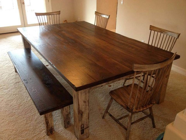 Dining table large reclaimed oak farmhouse table for Farmhouse dining table