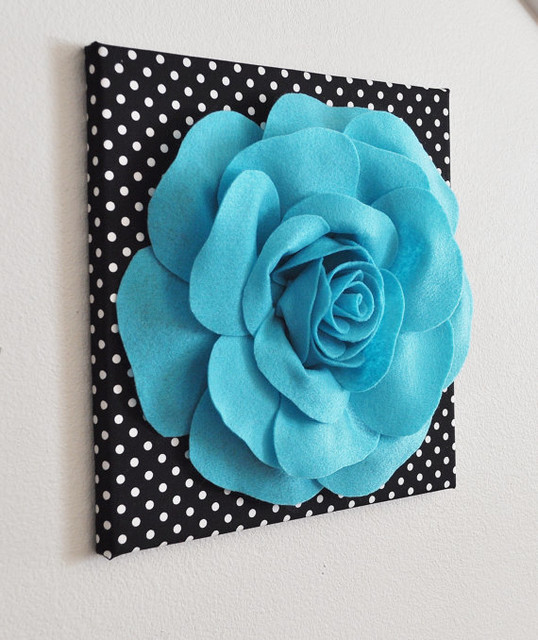 Light Turquoise Rose On Black Wall Decor And By Bed Buggs Boutique