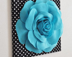 Light Turquoise Rose on Black Wall Decor and by Bed Buggs Boutique eclectic artwork
