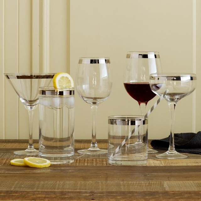 Banded Glassware Set contemporary glassware