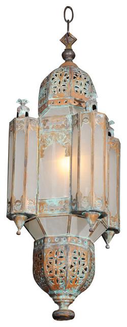 Morrocan Style Copper Lantern mediterranean-pendant-lighting