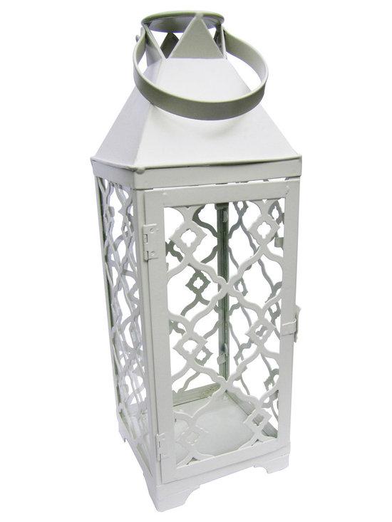 White Metal Lantern -
