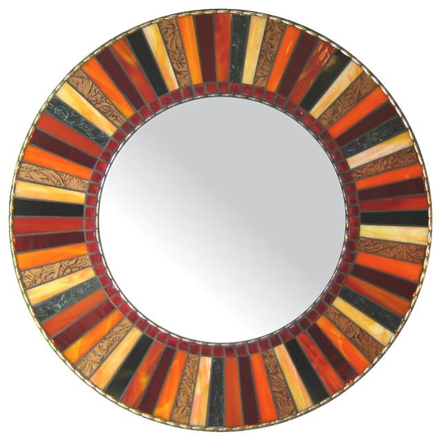 "Round Mosaic Mirror - Red, Orange, Black (Handmade), 18"" - Contemporary - Wall Mirrors - by Opus ..."