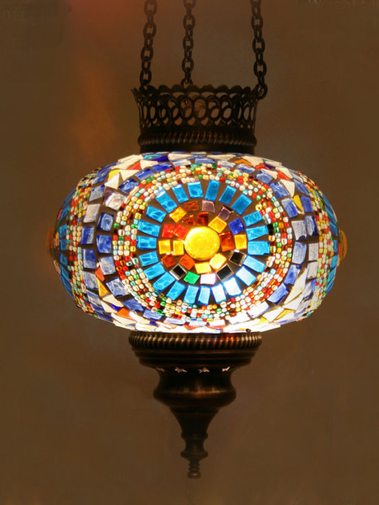 Turkish Style Mosaic Pendant Lamp 17cm - Decorative Mosaic Glass Turkish Style Pendant Ligting