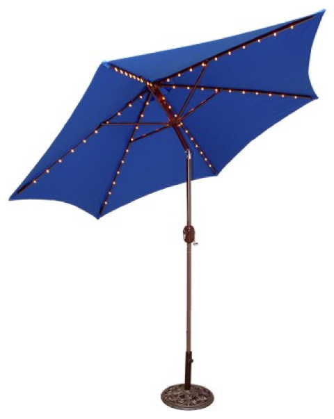 Round Crank Patio Umbrella Blue Contemporary Outdoor