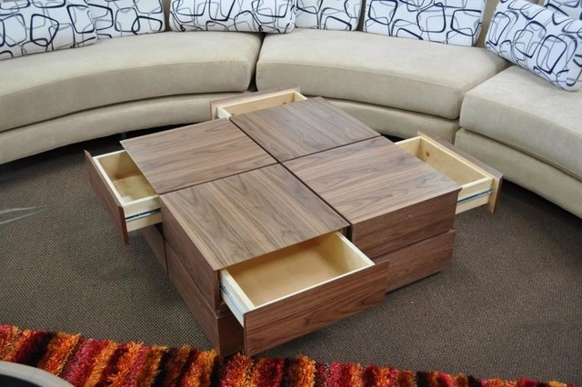 Square Center Table Designs : VENEER SQUARE COFFEE TABLE WITH DRAWERS SOMA - Modern - Coffee Tables ...