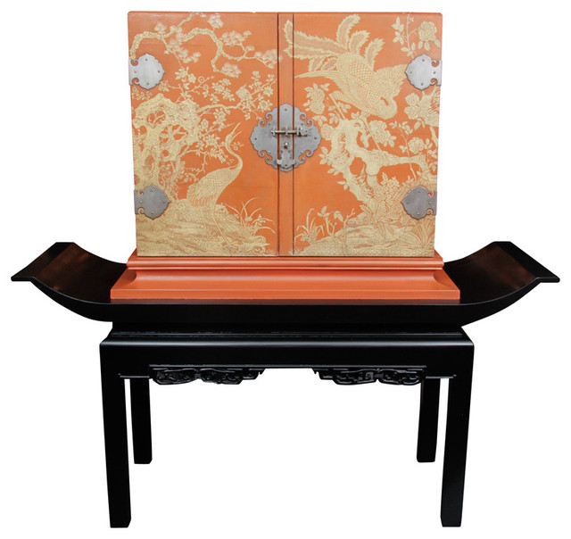 1940's Carved Chinoiserie Bar on Pedestal asian-indoor-pub-and-bistro-tables