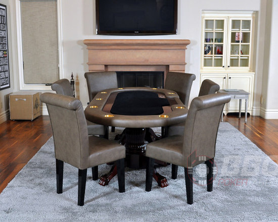 The Premier - For players who want to make a statement without saying a word, we present the Premier. Designed to accommodate the upscale poker night, the Premier was designed exclusively by BBO Poker Tables for consumers that desire the best. Shown without dining top, with premium lounge chairs, sold separately.  Price starts at $1,525.