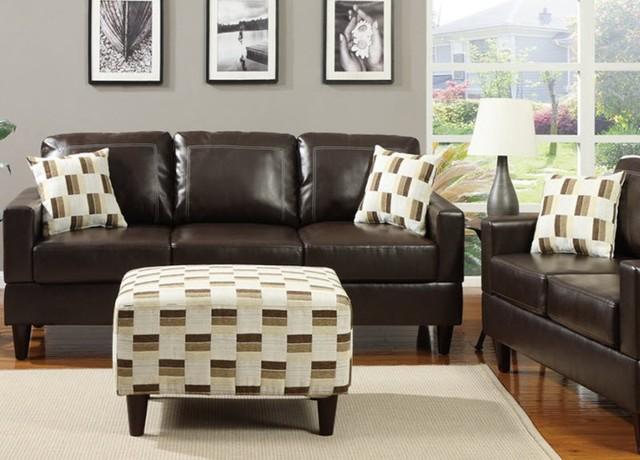 Poundex Furniture Espresso Bonded Leather Sofa F7424