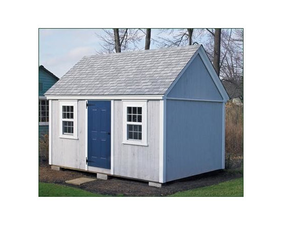 Standard 10'x14' Classic Shed - Perfect for storing tools and outside games. This standard building includes two windows, and a centered 3' door layout. Painted Driftwood with Naval door. Options include architectural roof shingles.