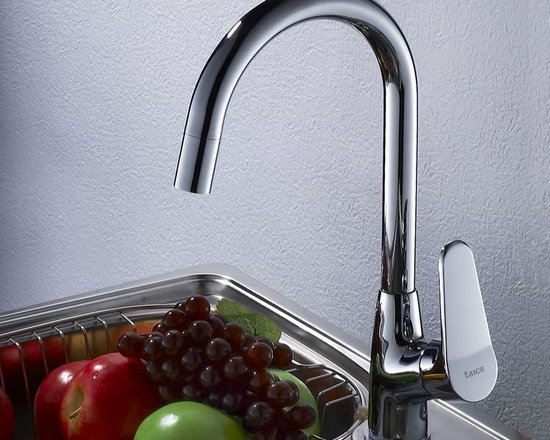 Single Handle Kitchen Faucet Mixer Tap in Chrome Finish - Features: