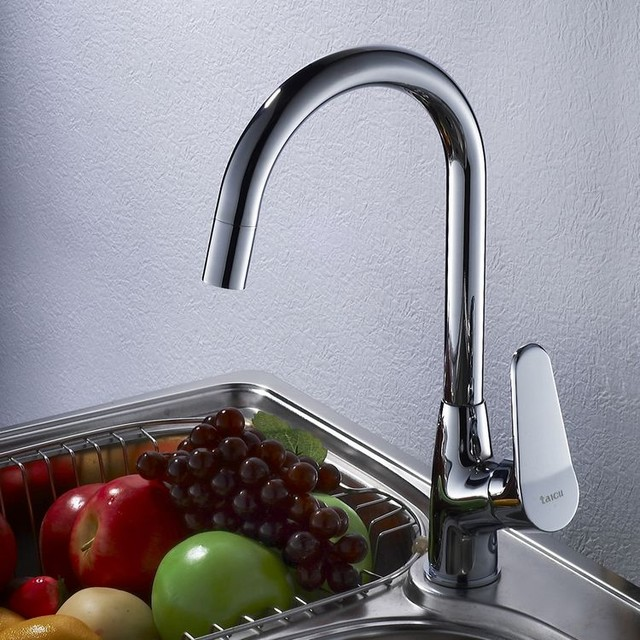 Single Handle Kitchen Faucet Mixer Tap in Chrome Finish modern