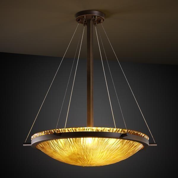 "Justice Design GLA-9692-35-AMBR-DBRZ 24"" Round Pendant Bowl w/ Ring Veneto pendant-lighting"
