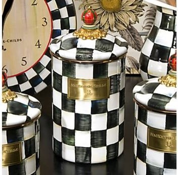 MacKenzie-Childs Courtly Check Enamel Canister food-containers-and-storage