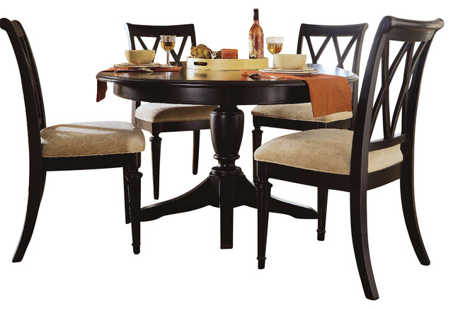 ... Round Dining Room Set in Black - Traditional - Dining Sets - by Beyond