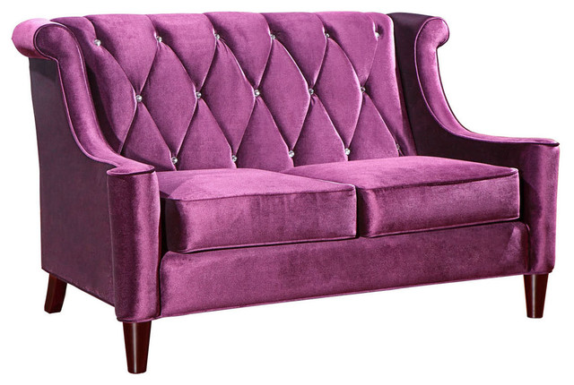 Barrister Loveseat in Purple Velvet with Crystal Buttons - Contemporary - Loveseats - by Modern ...