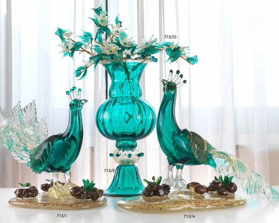 Murano Glass Sculptures and Figurines - Murano Glass teal garniture of vase and peacocks - COA and made to order.  More available so please contact us