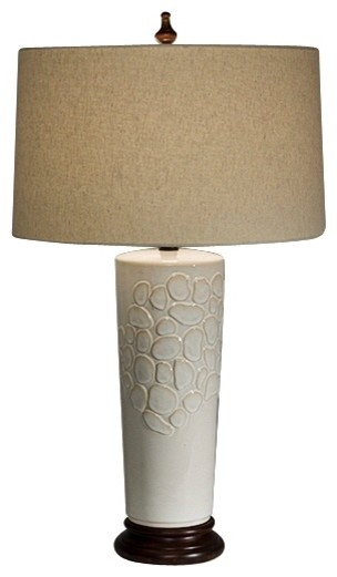 Natural Light Ambrosia Ceramic and Wood Table Lamp contemporary-table-lamps