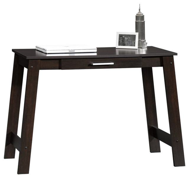 Sauder Beginnings Writing Table in Cinnamon Cherry transitional-desks