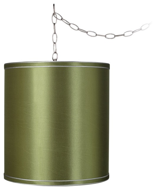 """Traditional Jewel Green 11 1/2"""" Wide Brushed Steel Swag Chandelier traditional-chandeliers"""