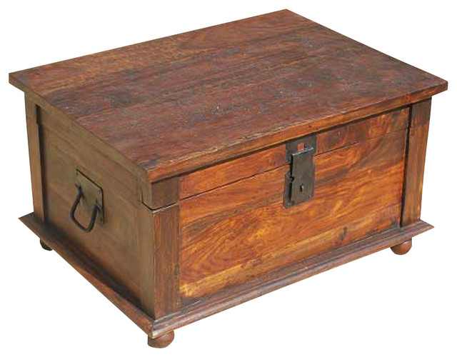 Rustic Primitive Solid Wood Storage Trunk Coffee Table - Traditional - Decorative Trunks - by ...