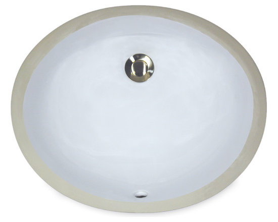 """UM-17x14-W - 17"""" x 14"""" Undermount Oval Ceramic Vanity Sink with Overflow. Available in White or Bisque."""