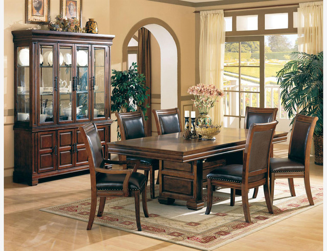 Coaster 7 PC Cherry Wood Dining Room Set Table Chairs Leather Seat Traditional Sets