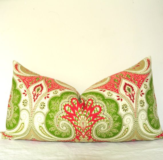 Pillow Cover Kravet Red, Pink, Green By kyoozi contemporary pillows