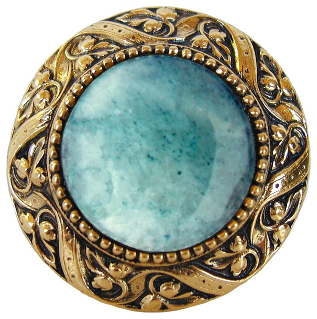 Notting Hill Victorian Jewel Green Aventurine Knob, Brite Brass traditional-cabinet-and-drawer-knobs