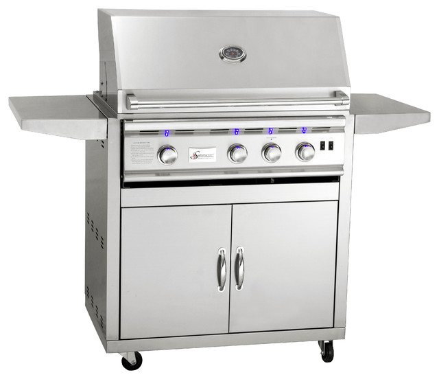 """32"""" TRL Stainless Steel Gas Grill Cart contemporary-outdoor-grills"""