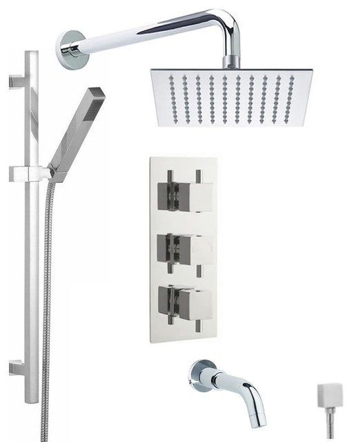 Chrome Thermostatic Shower System With 8 Quot Square Rain Head