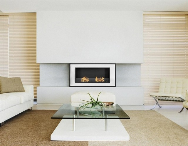 Bellezza modern ventless ethanol fireplace for Ventless fireplace modern