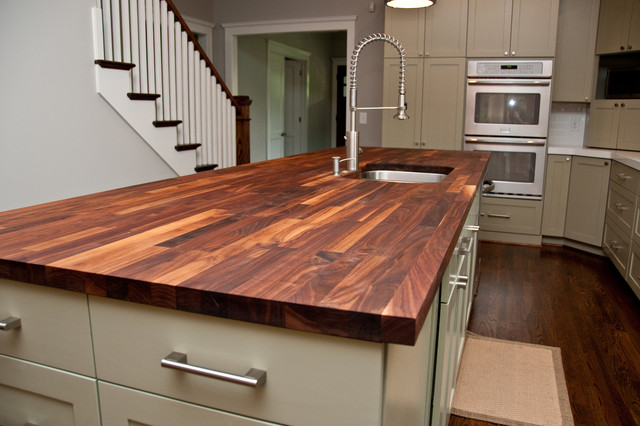 custom walnut butcher block counter contemporary
