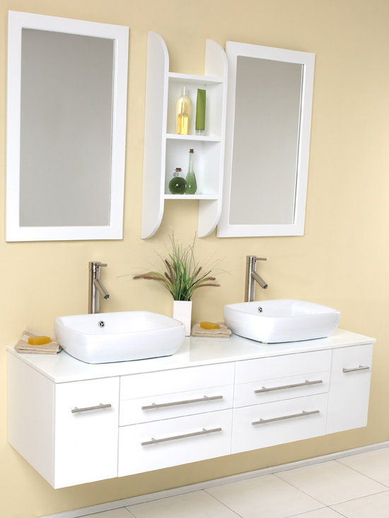 Fresca Bellezza White Modern Double Vessel Sink Vanity - Fresca Bellezza White Modern Double Vessel Sink Bathroom Vanity is our most popular vanity from the Fresca line. Marble, real wood and ceramic make up this stunning piece usually installed in high end residences. Double sinks make this perfect for a master bedroom, his and hers with equal amount of drawer space.