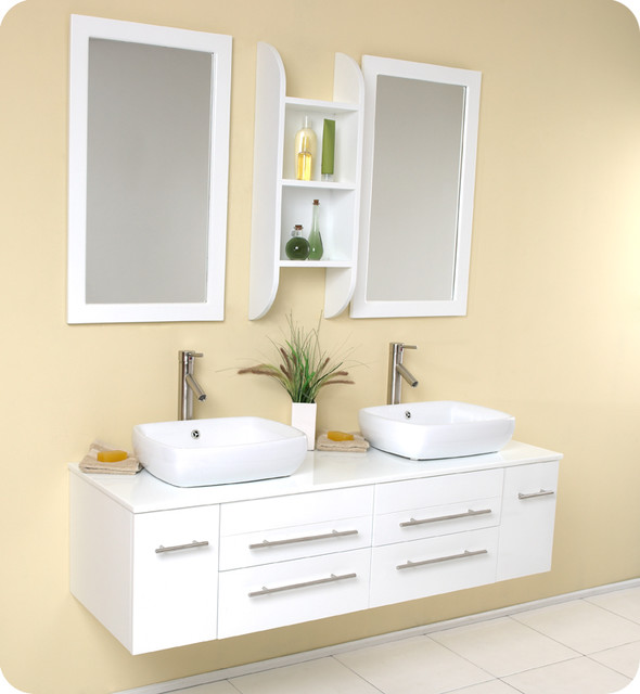 Fresca Bellezza White Modern Double Vessel Sink Vanity Contemporary Bathr