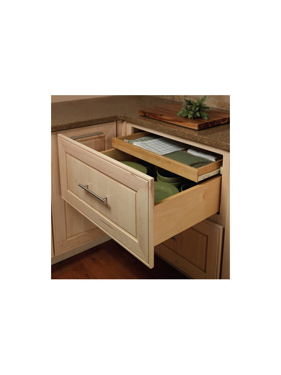 Base Deep Drawer Combination - Keep linens conveniently tucked away in this hidden roll out tray nestled in two deep drawers.