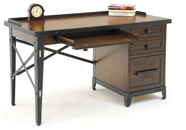 gs furniture industrial age 52 in desk smokey walnut modern desks and hutches by hayneedle