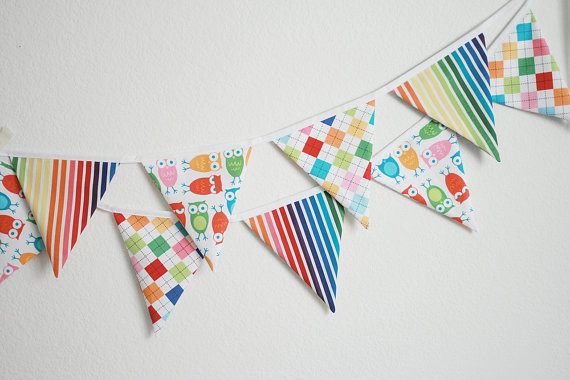 Fabric Banner Bunting Flags, Medium Size by Little Boats contemporary nursery decor