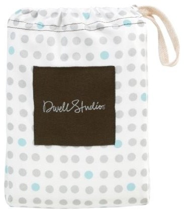 Traffic Dot Light Blue Fitted Crib Sheet contemporary baby bedding