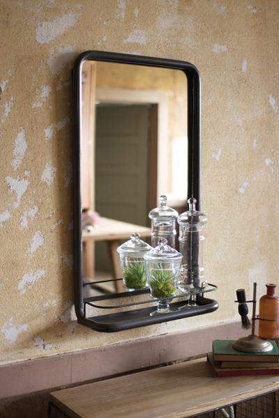Metal Frame Pharmacy Mirror With Shelf Industrial By