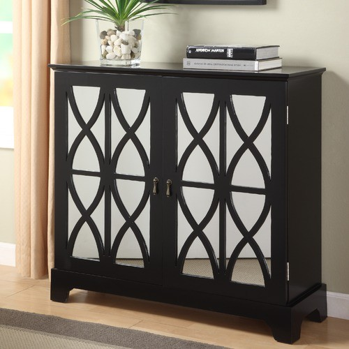 Mirrored Glass Buffet ~ Console cabinet with mirrored glass door modern