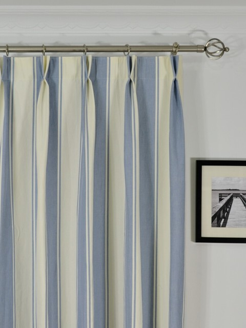 Blue Striped Cotton Blackout Window Curtains Modern Denver By Cheery Curtains