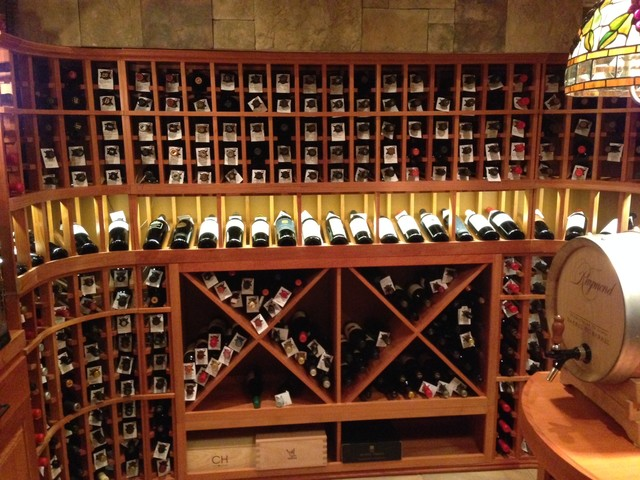 Led lighting over the display wine racks custom wine for How to make a wine cellar rack